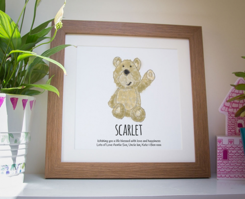 A personalised framed print of a teddy bear ideal as a gift for a boy or girl