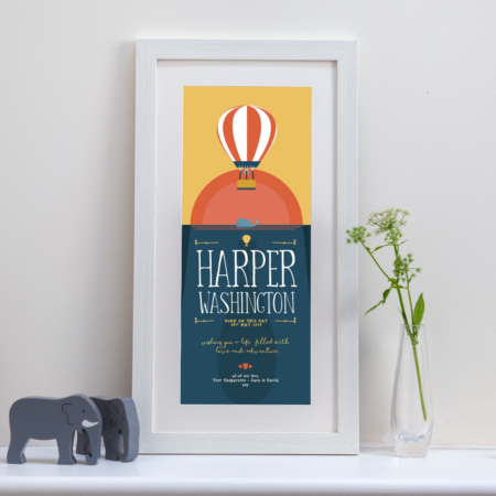 tall framed personalised print with an image of a hot air balloon, sun in the background and a whale in the sea, fully personalised with your own message