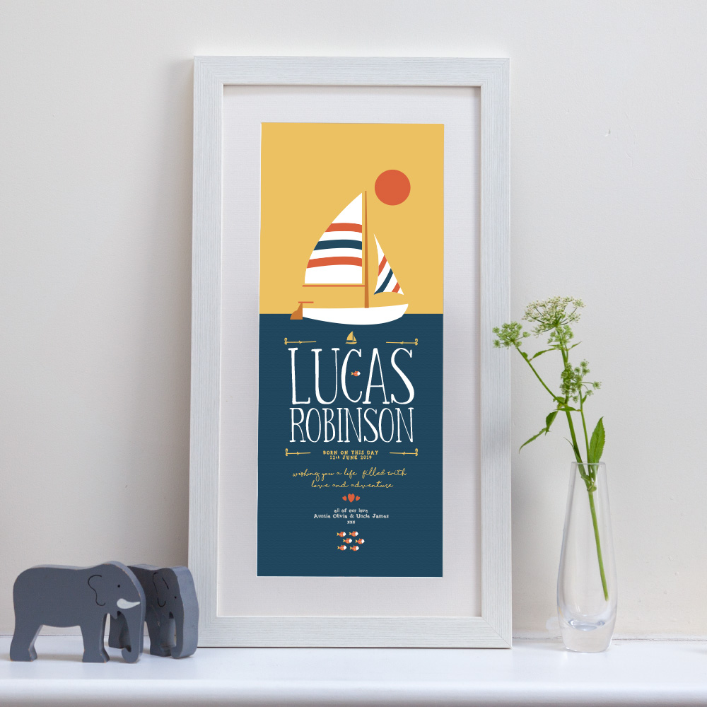 A tall framed personalised print with a boat design and fully personalised with your message ideal for a child's birthday, christening or new born gift